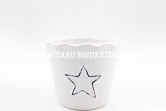 white porcelain planter